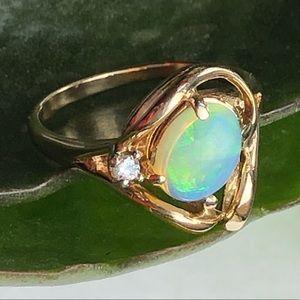 Jewelry - 14K Yellow Gold Opal Diamond Ring